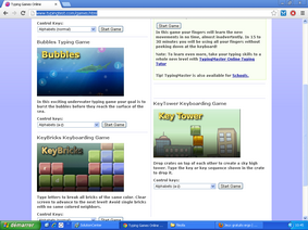 Vignette du site typing games